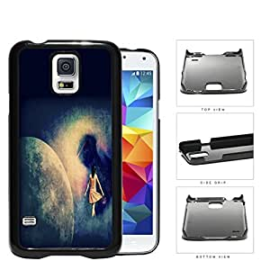 Lost Girl Wandering In Abstract Space Grunge Hard Plastic Snap On Cell Phone Case Samsung Galaxy S5 SM-G900
