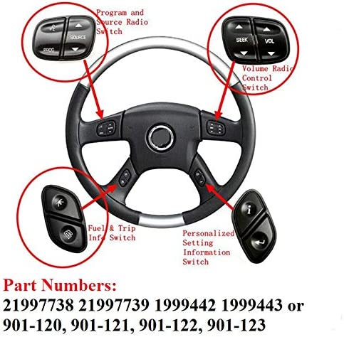 21997738 21997739/Fits Chevy Silverado Steering Wheel Radio Control Switch Buttons fits GMC Sierra 2003 2004 2005 2006 2007 by Lucky Seven