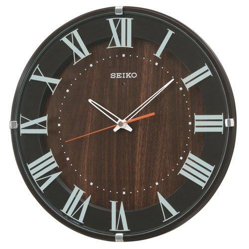 (セイコークロック) SEIKO CLOCK 電波壁掛け時計 KX397B ナチュラル ラウンドタイプ 丸型 濃茶 木目 アナログ B00QWQ4ICM