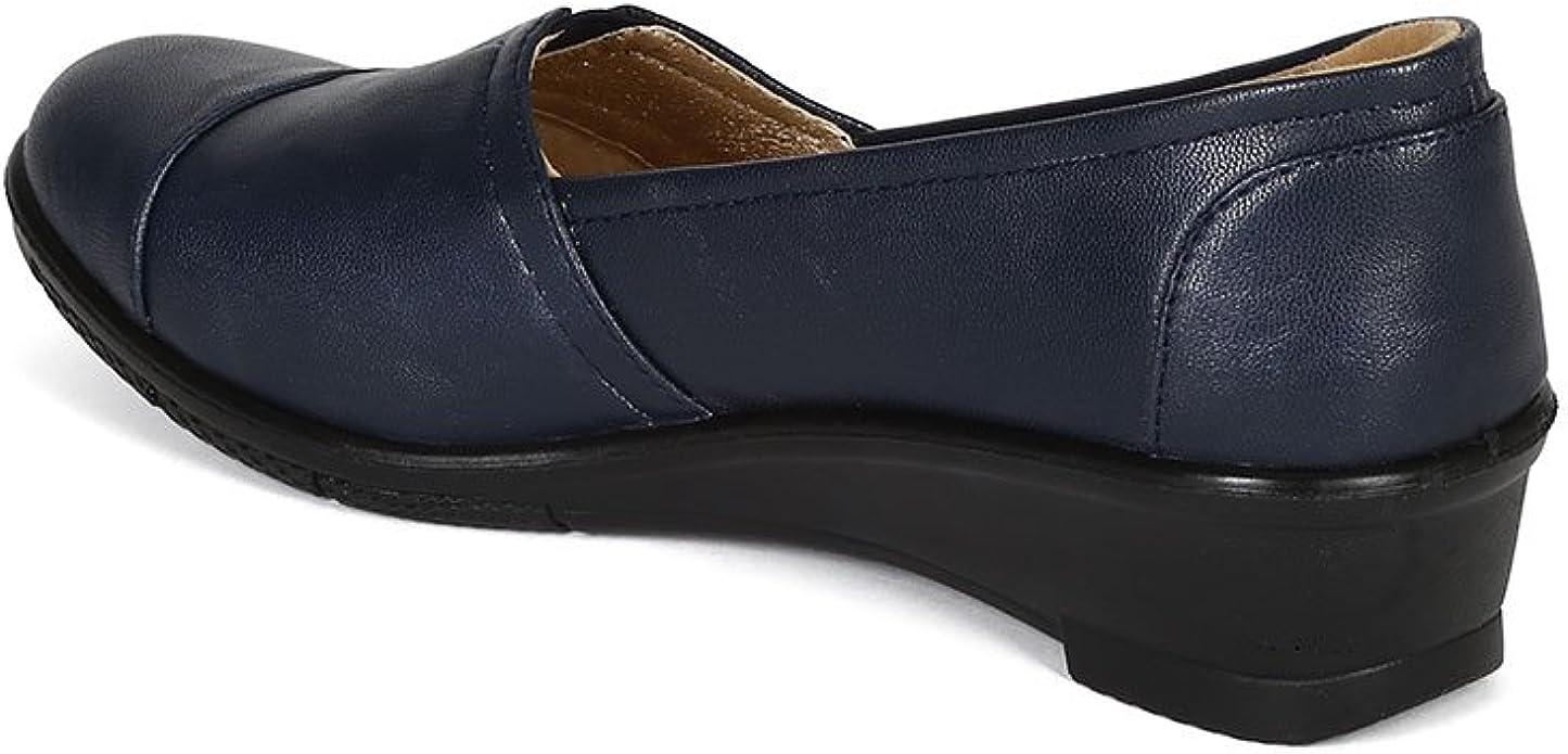 New Women Refresh Dido Leatherette Slip On Low Wedge Heel Loafer Flat