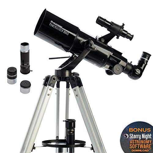 Celestron - PowerSeeker 80AZS Telescope - Manual Alt-Azimuth Telescope for Beginners - Compact and Portable - BONUS Astronomy Software Package - 80mm Aperture (Best Stargazing In Southern California)