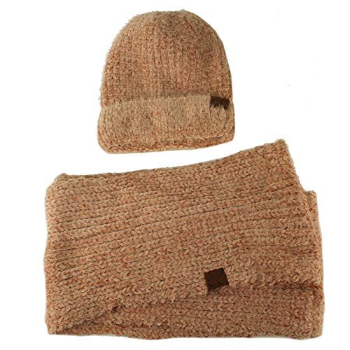 Set Soft Chenille Chunky Knit Stretchy Beanie w Scarf Infinity Loop Hat Rose ()