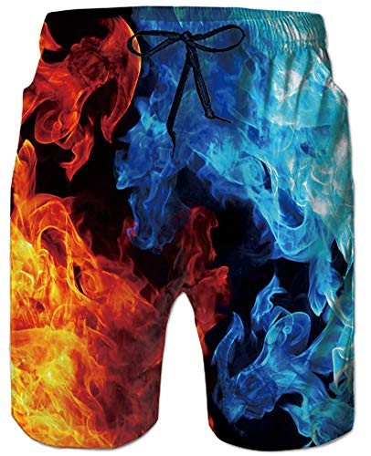 80s Awesome Swimwear Boardshorts 3D Printing Cool Ice And Hot Flame Hawaiian Cargo Shorts Large Size Trendy Camo Surfing Bathing Suit Summer Cool Undersea Swimming Trunks for Men Boy Toddler Youth Boy ()