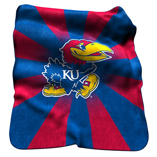 Logo Brands NCAA Kansas Jayhawks Raschel Throw Blanket (Jayhawks Throw)