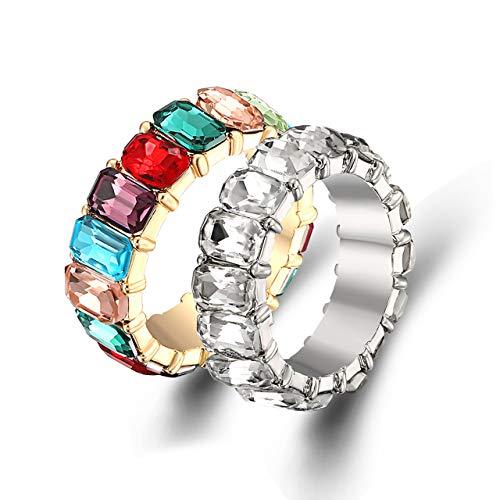 ZITULRY Rainbow Ring for Women Baguette CZ Eternity Band Ring Set Rhinestone Crystal (Rainbow + White, 7)