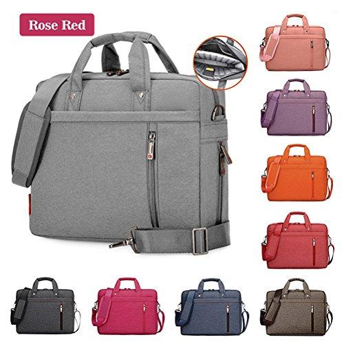 Samaz Shakeproof Nylon Laptop Messenger Shoulder Bag Case Briefcase for 13 - 17 Inch Laptop / Notebook / Ultrabook / Macbook Pro Retina Case (14 Inch, Rose (Briefcase Purse)
