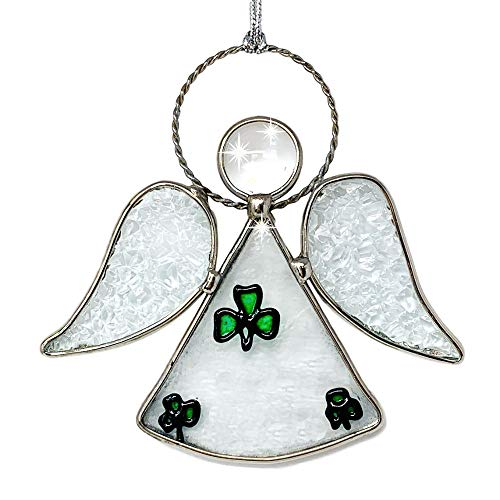 (BANBERRY DESIGNS Irish Angel Suncatcher - Glass Hanging Angel with Green Shamrocks and Tempered Glass Inserts - Silver String Attached)