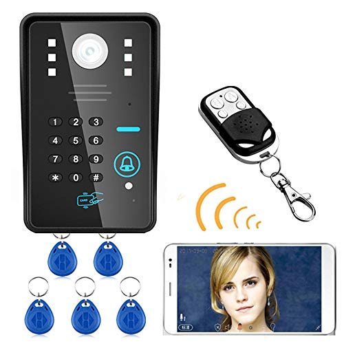 MOUNTAINONE Wireless WIFI RFID Password Video Door Phone Doorbell Intercom System Night Vision Waterproof Access Control System + wireless remote control unlock