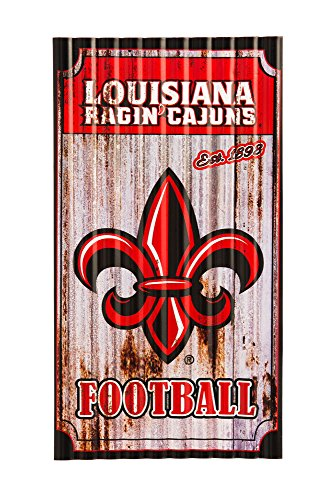 Team Sports America Louisiana Lafayette Ragin' Cajuns Corrugated Metal Wall Art (Lafayette Outdoor Hanging)