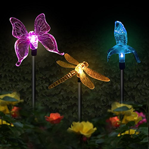 Solar Stake Garden Landscape Color Changing Light, Hummingbird, Butterfly, Dragon Fly, Color Changing LED Wireless Solar Light 3PC Decor for Fence, Yard, Gardens, Flowerbed Dragonfly Border