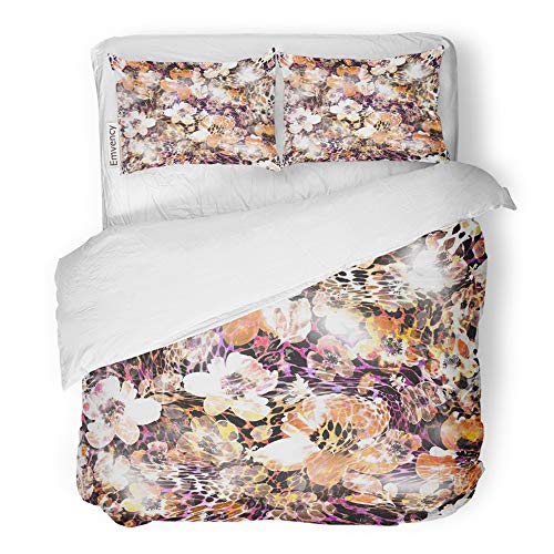 Emvency 3 Piece Duvet Cover Set Brushed Microfiber Fabric Breathable Snake Leopard Flower Skin Pattern Abstract Africa Animal Cheetah Closeup Floral Bedding Set with 2 Pillow Covers Full/Queen ()
