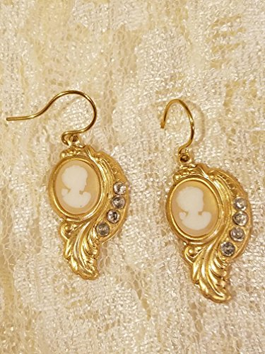 White Cameo Lady on Translucent Background Dangle Earrings in Victorian Drop Setting with Diamond Crystals