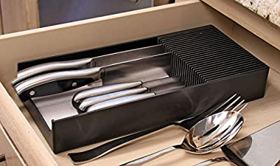 Plastic KNIFEdock - In-Drawer Knife Storage Rack. Replace your old knife block with a revolutionary new product. Clear your counter top clutter, and easily identify the desired knife every time. KNIFEdock makes all other knife blocks obsolete.