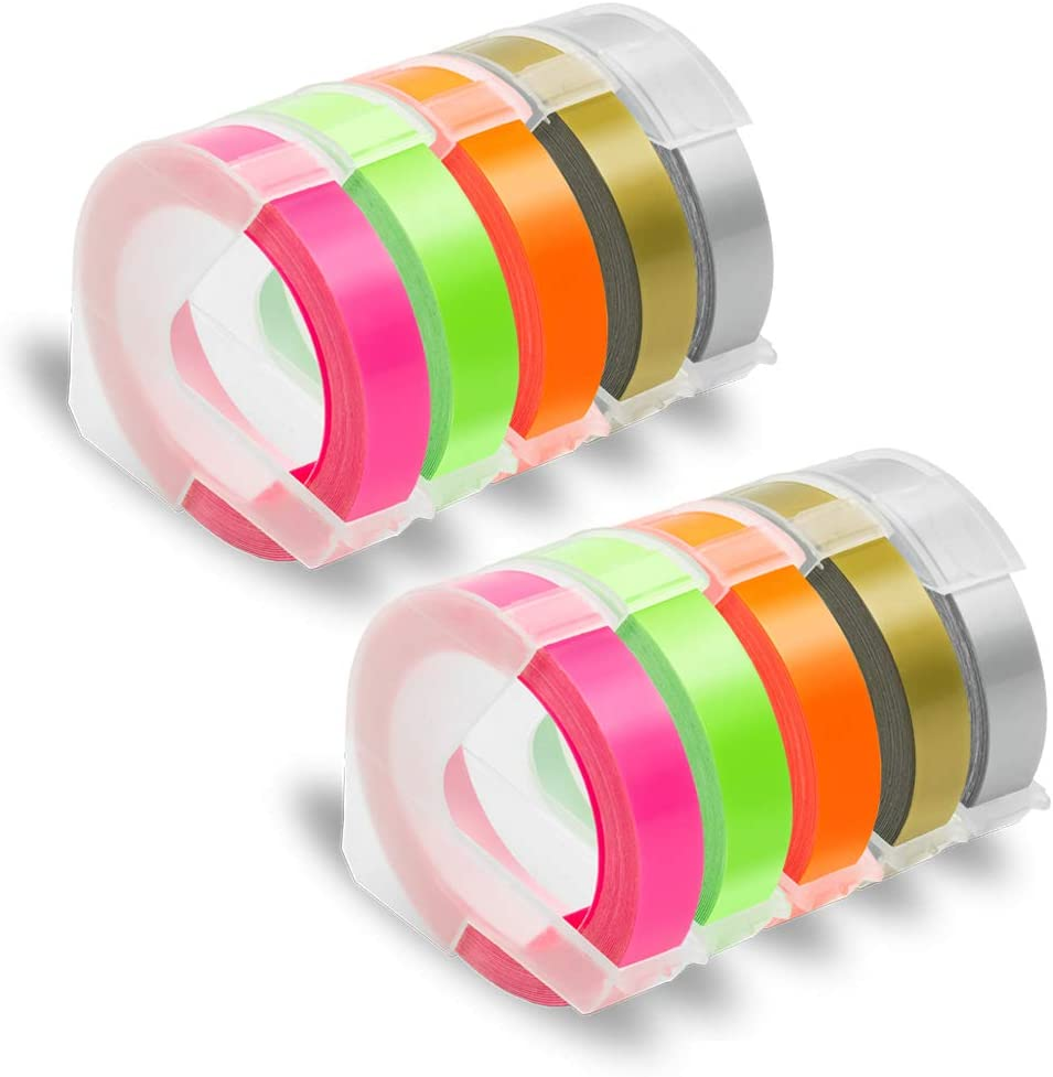 """Pristar Compatible for DYMO Embossing 3D Plastic Label Tapes 9mm, Work with DYMO Label Makers LabelManager 1610, Organizer Xpress Pro, Neon Pink/Orange/Green/Gold/Silver, 3/8"""" x 9.8', 10-Pack"""
