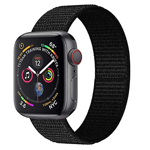 Hankn Compatible with Smartwatch Loop Band, Woven Nylon Replacement Breathable Band Loop Fastener Adjustable Closure Wrist Strap Band for Smart Watch Series 4 3 2 1 Sport Edition (Black, 38mm/40mm)