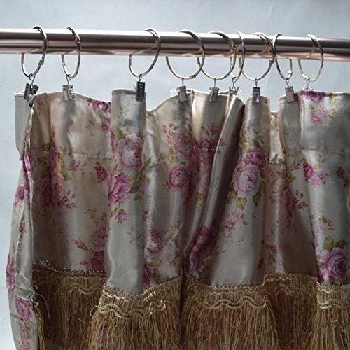 Cindy&Will 30Pcs Curtain Drapery Clip with Metal Split Ring, Loose Leaf Ring for Rods Up (Silver, 2'' Interior Diameter)