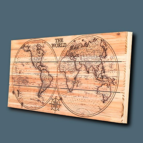 Joe&Lee Classy Laser Engraved Wooden World Map | Graphic Wall Art Home Wall Decor | Room Office Wall Art | Rustic Vintage Farmhouse Style decorations | Travel Push Pin Map | Perfect Artwork Gift Idea by Joe&Lee (Image #2)