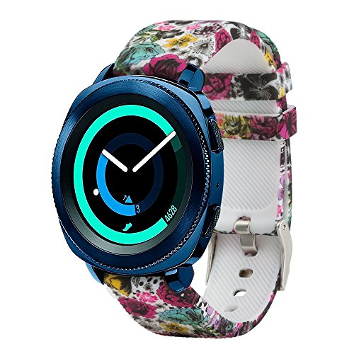 honecumi Replacement Bands Compatible with Samsung Gear Sport/Galaxy Gear S2 Classic SmartWatch SM-R732 & SM-R735 20mm Wristbands Watch Strap Accessory Colorful Pattern Flower Adjust Bands