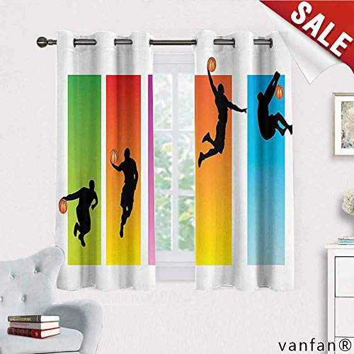 Big datastore Sports Decor Collection Curtain Mount,Basketball Slam Dunk Image Sequence of Actions Player Game Match Design Curtains to Block Out Heat,Green Red Purple Blue Orange W55 x L63