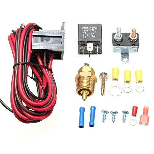 Engine Cooling Fan Switch (Partshow 185 to 200 Degrees Electric Engine Cooling Fan Thermostat Temperature Sensor Switch Relay Kit Perfect for Any of 10
