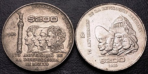 Unbranded LOT OF 2X 1985 MEXICO 200 PESOS COINS COMMEMORATING REVOLUTION & INDEPENDANCE