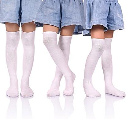 94900cf52 HERHILLY 3 Pack School Uniform Socks - Classic Stripe Cotton Over Knee-high  Socks for