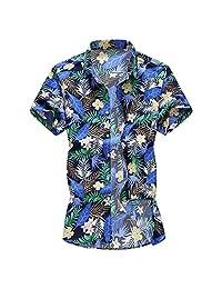Turn Down Collar Shirts for Men,Fashion Slim Loose Hawaii Printed T-Shirt Short Sleeve Tops