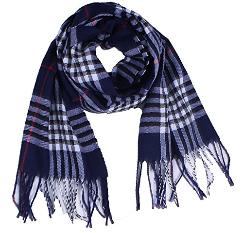 Wander Agio Kids Scarf Warm Shawls Large Scarves Parent-child Scarf Child Plaid Scarfs Dark Blue
