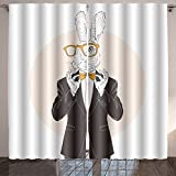 Jiahonghome Lush Decor bunny dressed up in tuxedo adjusting his tie bow anthropomorphic illustration fashion animals