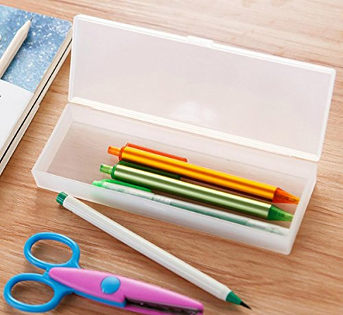LaOficina Small Plastic Clear Pencil Box Crayon Art Stationery Case Container 4 Packs