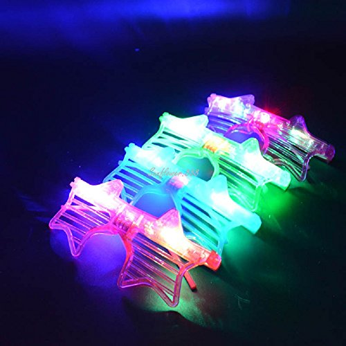 12 Pairs of LED Flashing Light Up Party Glasses Shades - Child Glasses With Stars