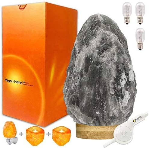 RARE Grey Gray White Black Authentic Himalayan Salt Lamp Lights set 5-8 lbs 7-11″ ,Table Lamp platin Base Touch Dimmer Switch Control