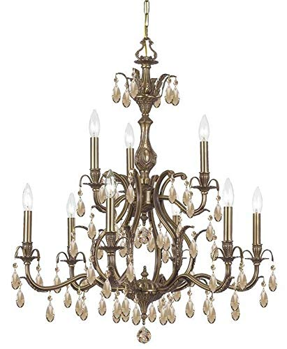 - 5569-AB-GT-MWP Dawson 9LT 2-Tier Chandelier, Antique Brass Finish with Golden Teak Hand Cut Crystal