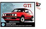 Bundle - 2 Items - VW Golf Mk2 GTI Metal Wall Art Sign - (12 x 16 Inches) and a Set of 4 Repositionable Adhesive Pads For Easy Wall Fixing
