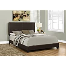 Monarch Specialties I 5910Q Bed with Leather Look Fabric, Queen, Dark Brown
