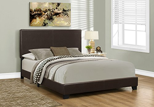 (Monarch specialties I 5910Q, Bed, Leather-Look, Dark Brown, Queen)