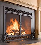 Scrollwork Large Fireplace Screen with Hinged Doors Cast Iron Border Sturdy Steel Frame Durable Metal Mesh Decorative Elegant Design Free Standing Spark Guard Black Finish 44 W x 33 H