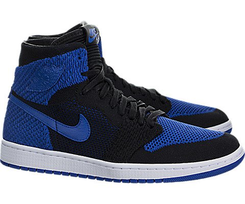reputable site 483cc 914ae Galleon - Jordan Nike Mens Air 1 High Flyknit Basketball Shoes Black Game  Royal White 919704-006 Size 8.5