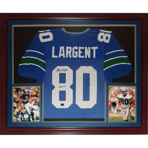 (Steve Largent Autographed Seattle Seahawks (Blue #80) Deluxe Framed Jersey w/