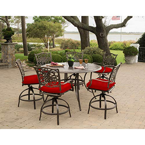 Hanover Traditions 7-Piece High-Dining Set in Red with 6 Swivel Chairs and a 56 in. Cast-Top Table, TRADDN7PCBR-RED Outdoor Furniture