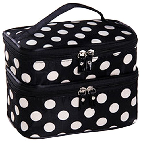Makeup Mirror Dots (JOVANA Double Layer Cosmetic Bag Black with White Dot Travel Toiletry Cosmetic Makeup Bag Organizer With Mirror)
