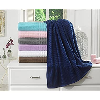 BERRNOUR HOME Piano Collection 100% Turkish Cotton Luxury Bath Sheet, Midnight Blue