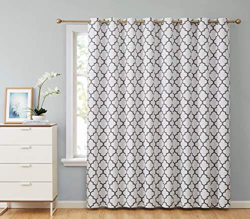 (HLC.ME Lattice Print Thermal Grommet Blackout Patio Door Window Curtain for Sliding Glass Door - Platinum White & Grey - 100