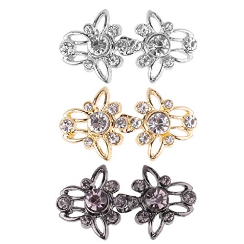 Elizabethan Crystal - CHICTRY 3 Pairs Shiny Crystal Cape Cloak Clasps Decorative Sew On Hooks and Eyes Cardigan Clips Sweater Shawl Clip Fasteners for Women and Girls Type C One Size