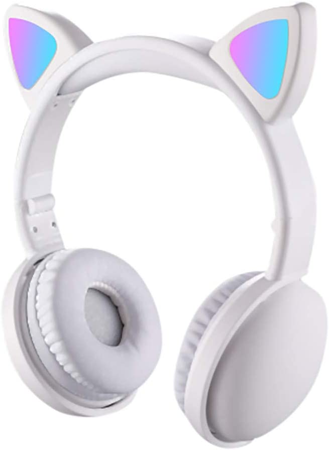 Han Shi Wireless Bluetooth Over Ear Headphones Cat Ear LED Light Up Foldable Headset with Microphone, Adjustable Earphones for Women(White)