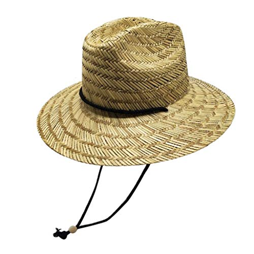 Men's Straw Sun Hat,Classic Beach Hat Raffia Wide Brim Sun Protection Hat Bucket Hat Windproof Fishing Hats Summer String Hat ()