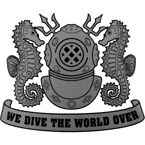 Navy Diver Helmet - US Navy Diver We Dive The World Over (Silver) Clear Decal