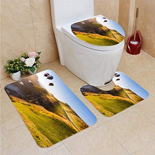 3 Sets of Bathroom Home, Bathroom Carpet + Contour pad + lid Toilet seat,Hot air Balloon Flying Over Philip lsland Victoria Australia, Flannel Carpet