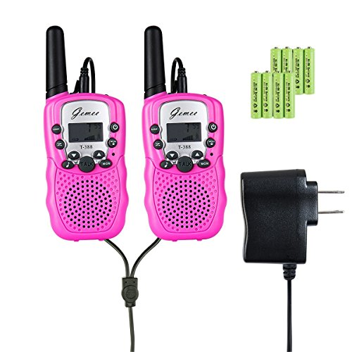 Kids Walkie-Talkies - GEMEE UHF462-467MHz 22 Channel FRS/GMRS Two-Way Radios with Rechargable Batteries and a Charger 1 Pair- 2 Pcs (Pack of 2, Pink) ()