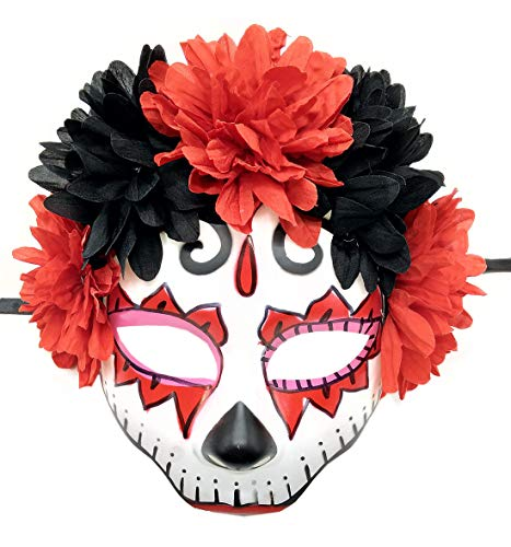 Women's Masquerade Mask Mexican Day of The Dead Sugar Skull Eyemask Masque Fancy Dress (X Skull)